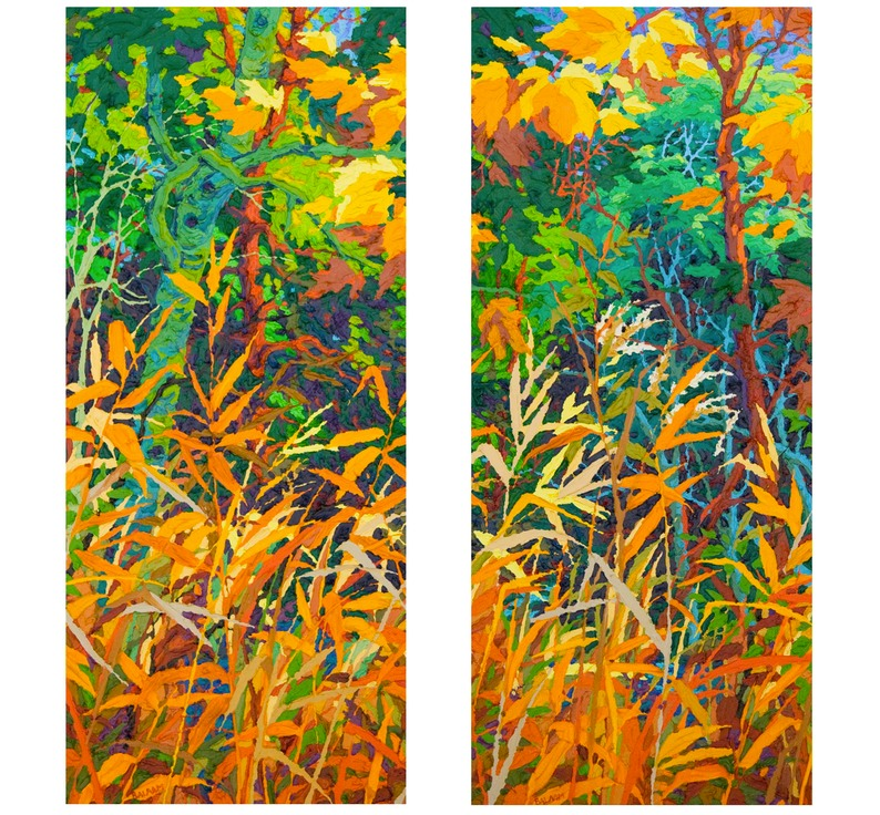 "Autumn Fire Diptych I and II - 32"" x 14"" x 2"