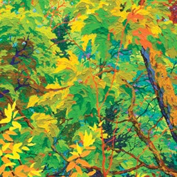 "Green Doorways - Autumn Jewelled Woodland I 72"" x 24"""
