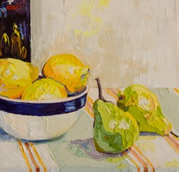 Bowl of Lemons and a Few Pears Close Up