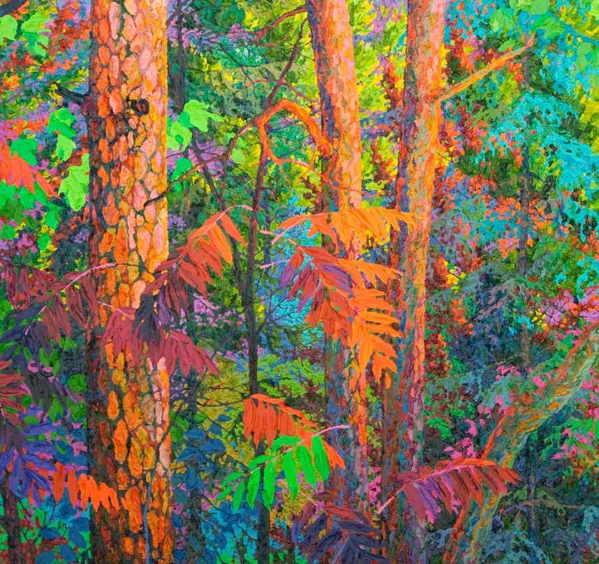 "Triptych Edge of the Forest I - 46"" x 46"""