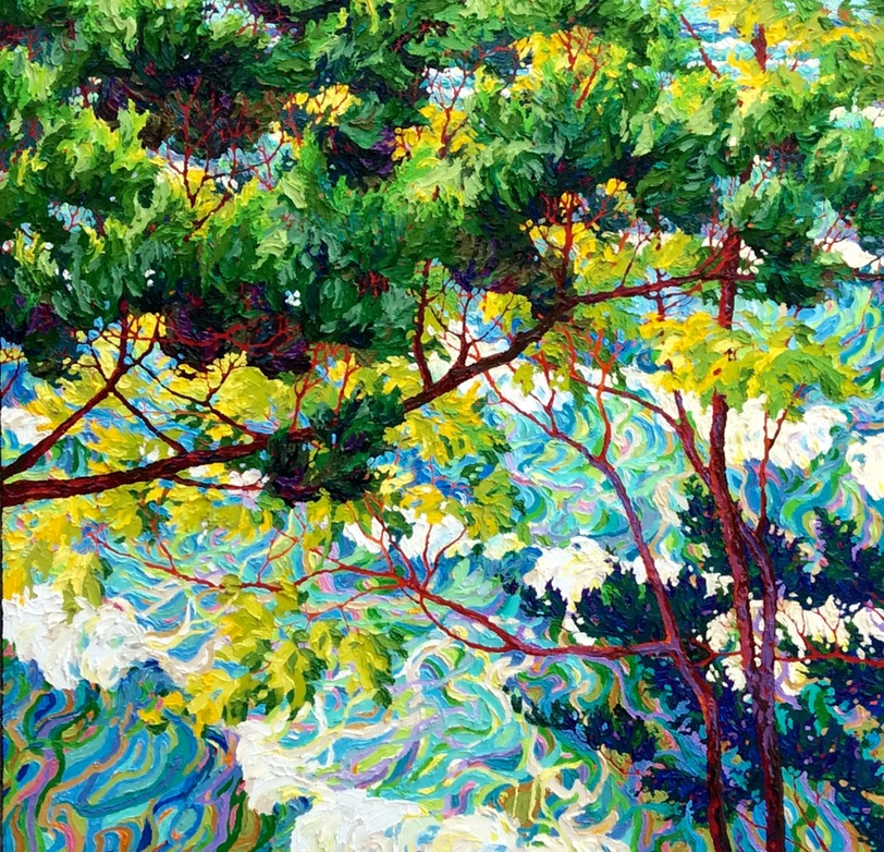 "Ocean Light Through the Trees - 42"" x 42"""
