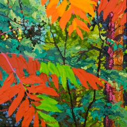"Glimpse Dark Red Sumac I - 13"" x 13"""
