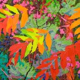 "Glimpse Dark Red Sumac II -13"" x 13"""