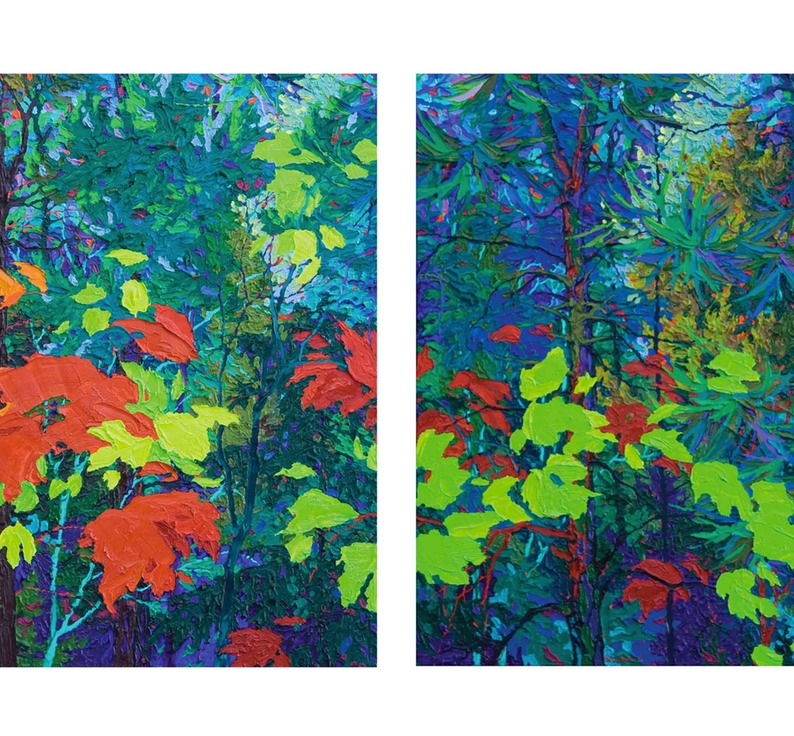 "Diptych Moonlight-Dance I and II - 24"" x 48"""