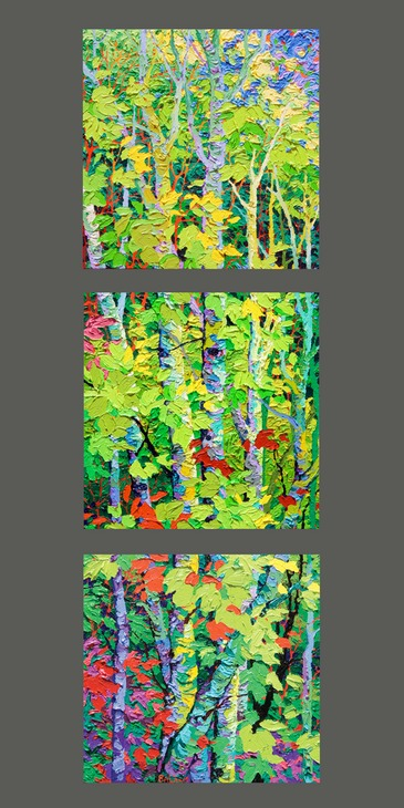 "Night Light Triptych I II III - 14"" x 14"" Each"