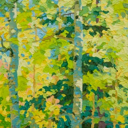 "Glimpse - Oak Creek Aspens  - 13"" x 13"""