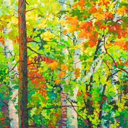 "Oak Leaves and Aspens - 46"" x 46"""