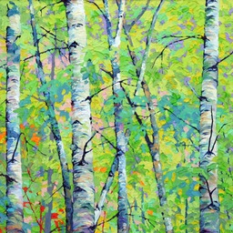 "Spring Birches II  - 20"" x 20"""