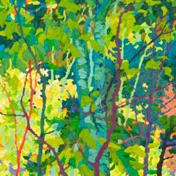 "Tall Aspen Shadows I-  32"" x 14"""