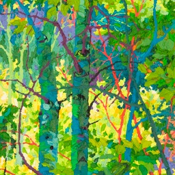 "Tall Aspen Shadows II - 32"" x 14"""