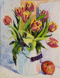 Tulips and a Red Apple Lo
